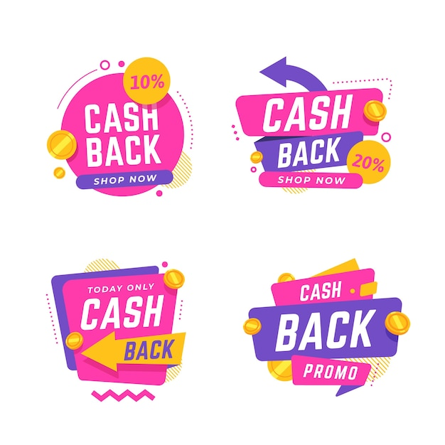 Collection of different cashback labels Free Vector