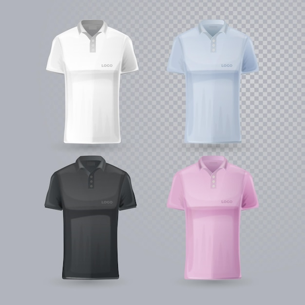 Collection of different editable polo shirts Free Vector