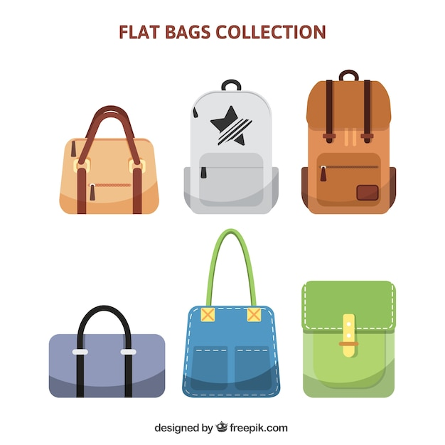 Collection of different kinds of bags Premium Vector