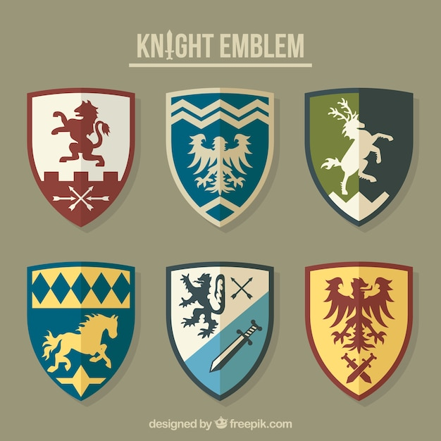 Collection of different knight emblems Free Vector