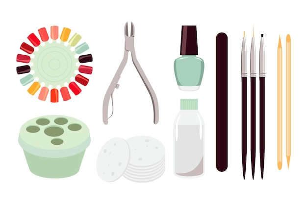 Collection of different manicure tools Free Vector