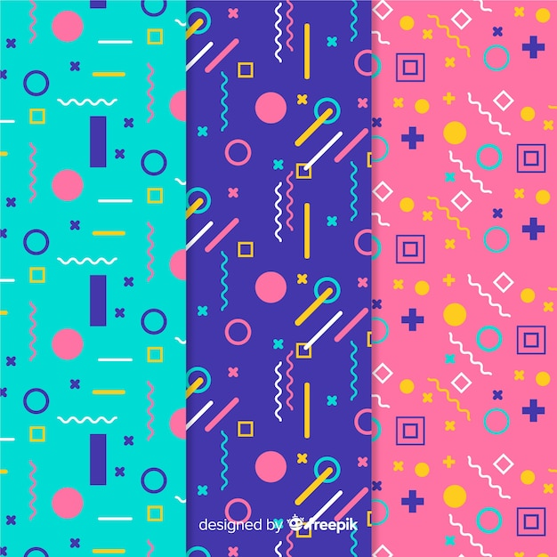 Collection of different memphis patterns Free Vector