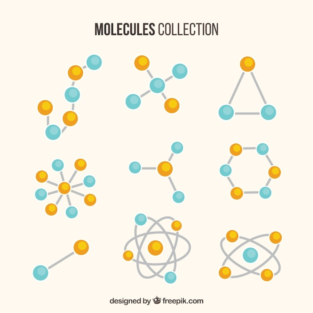Collection of different molecule Free Vector