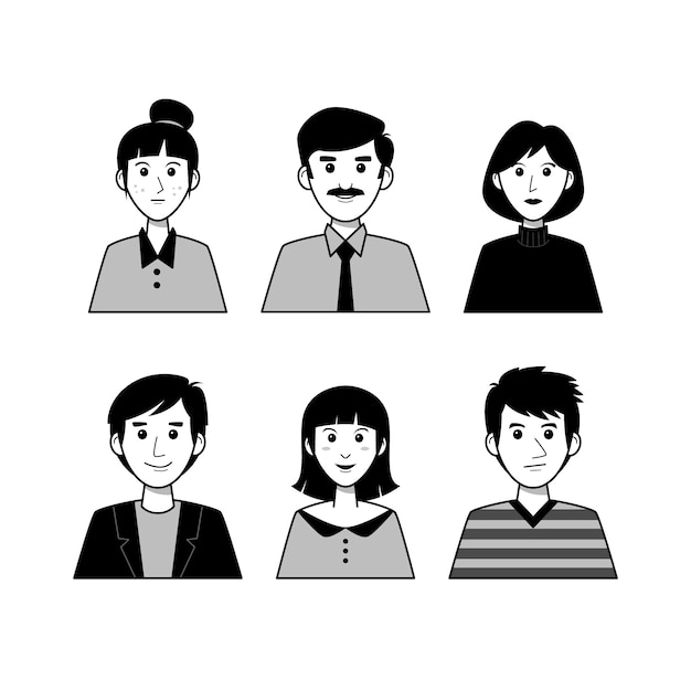 Collection of different people avatars Free Vector