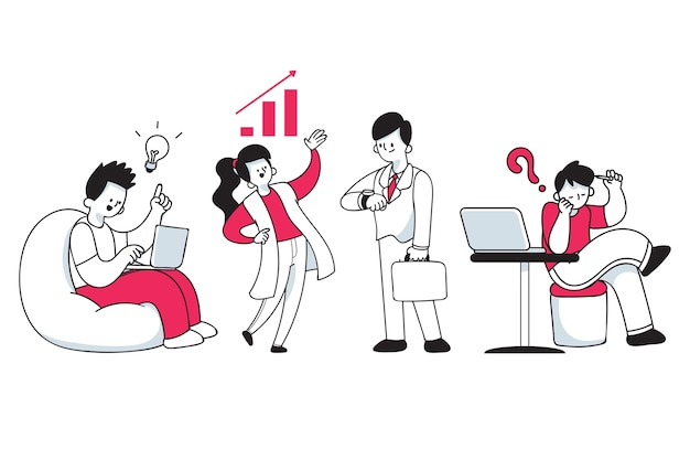 Collection of different people at work Premium Vector