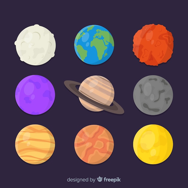 Collection of different planets stickers Free Vector