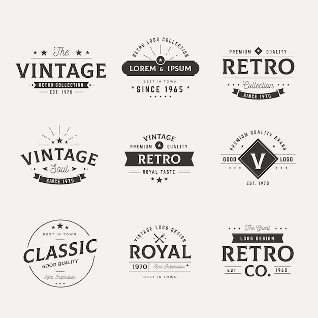 Collection of different retro logos Free Vector