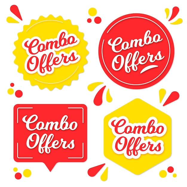 Collection of different shaped combo offers labels Free Vector