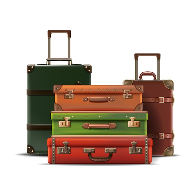 Collection of different sizes travel luggage retro old style in leather isolated on white background Free Vector