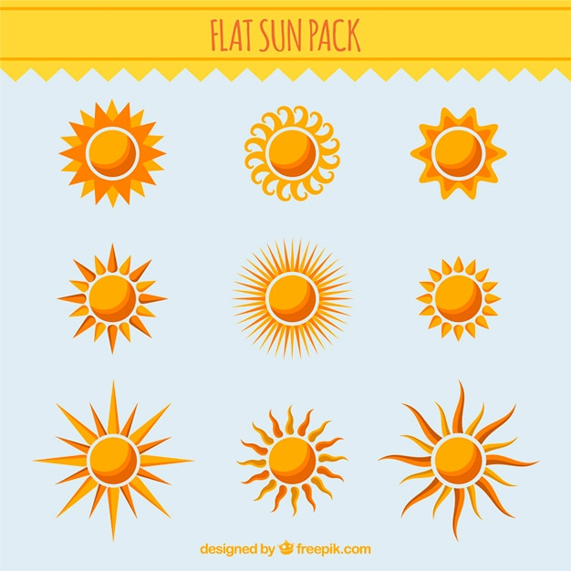 Collection of different suns Free Vector