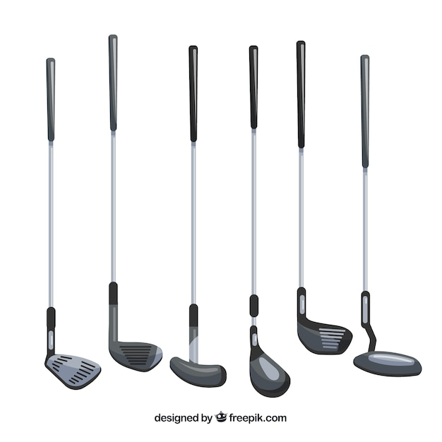 Collection of different types of golf clubs Free Vector