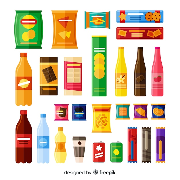 Collection of different types of snacks Free Vector