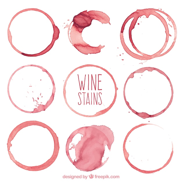 Collection of different types of wine stains Free Vector