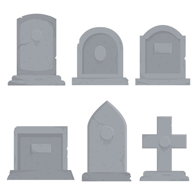 Collection of different various gravestones   illustration Premium Vector