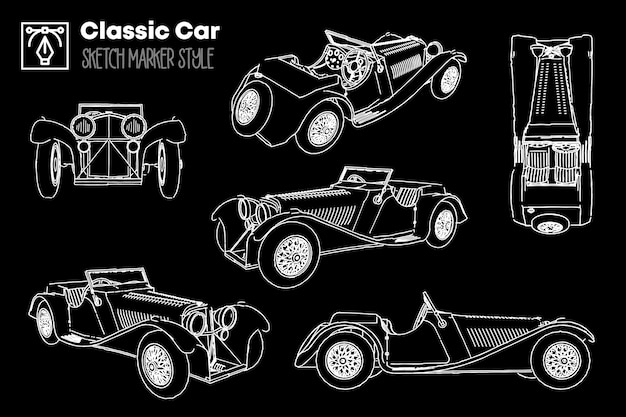 Collection of different views of classic car silhouettes. marker effect drawings. Premium Vector