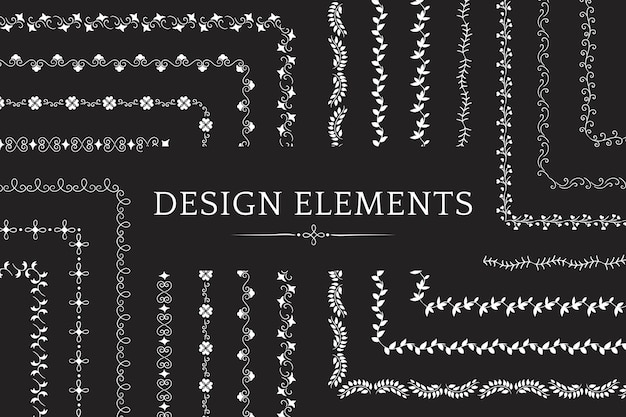 Collection of divider design element vectors Free Vector