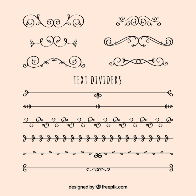 Collection of dividers and vintage hand drawn ornaments Free Vector