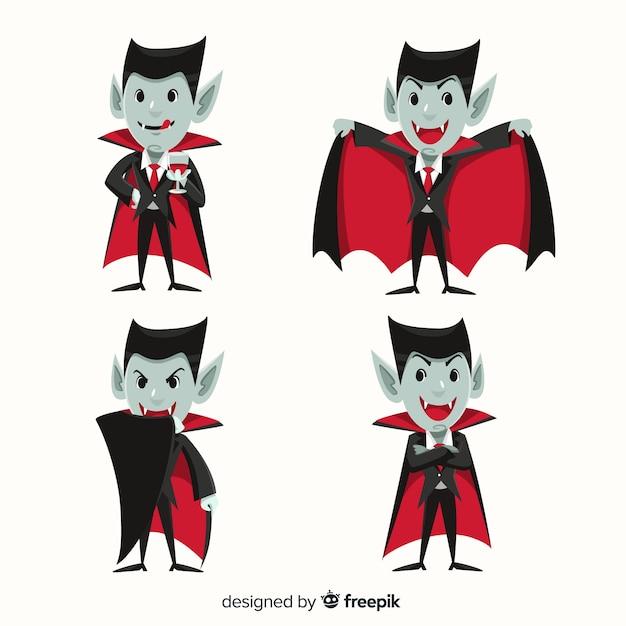 Collezione di dracula personaggio vampiro in design piatto Vettore gratuito