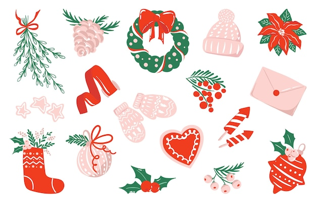 Collection of drawing for christmas and new year in red, pink and white color scheme, isolated clipart illustrations. set of stickers. holiday art Premium Vector