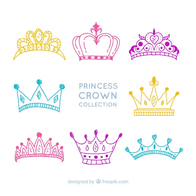 Collection of drawings of princess crowns Free Vector