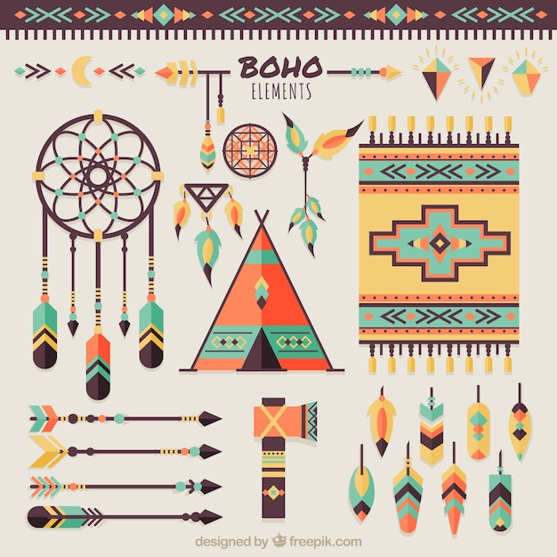 Collection of dream catchers and boho elements Free Vector