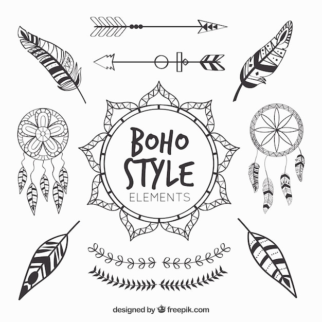 Collection of dreamcatchers and feathers Free Vector