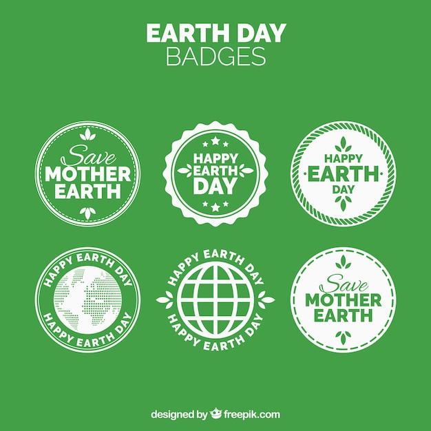 Collection of earth day vintage stickers Free Vector