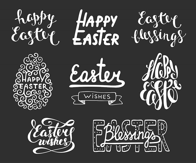 Collection of easter typography Premium Vector