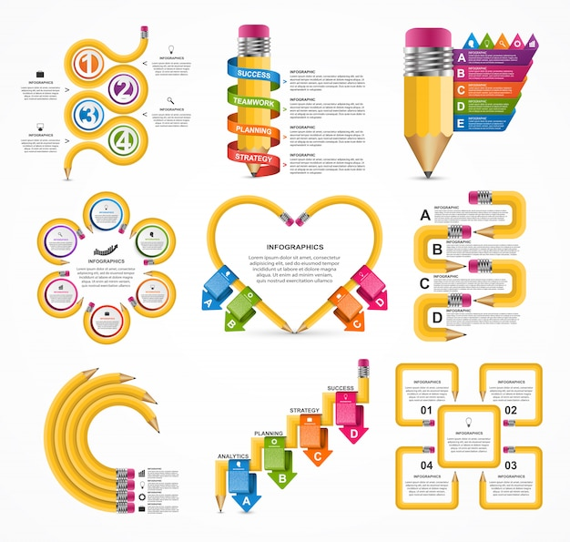 Collection education infographics template. Premium Vector