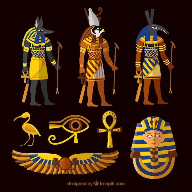 Collection of egypt gods and symbols Free Vector