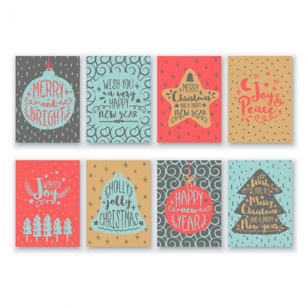 Collection of eight christmas cards Premium Vector
