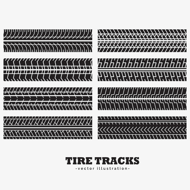 Collection of eight tire track marks Free Vector