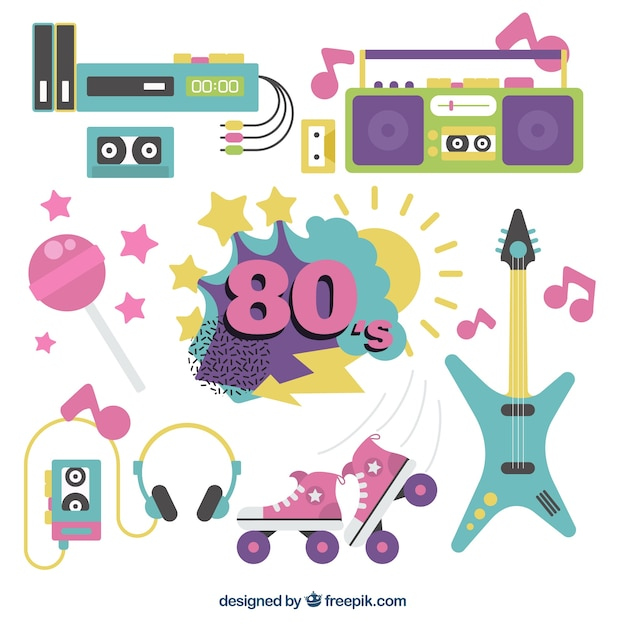 Collection of eighties objects in flat design Free Vector