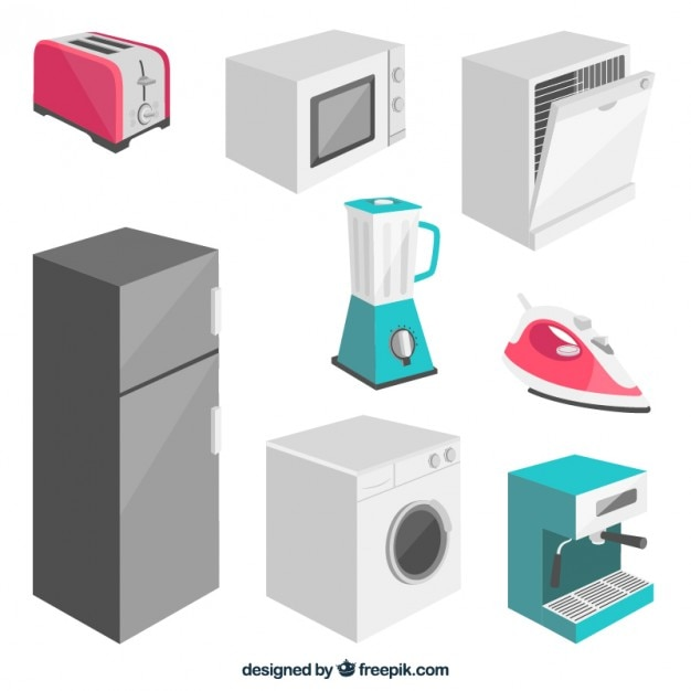 Collection of electrical appliance in 3d Free Vector