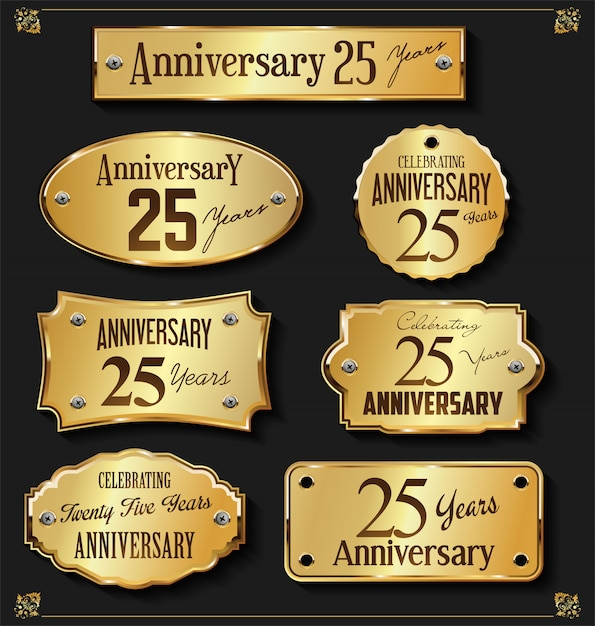 Collection of elegant anniversary golden labels Premium Vector