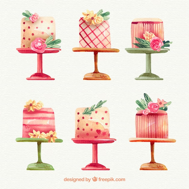 Collection Of Elegant Birthday Cakes Vector