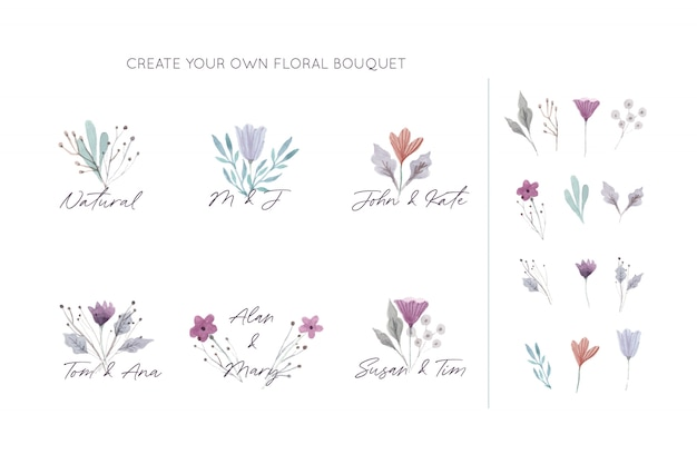 Collection of elegant floral bouquets Free Vector