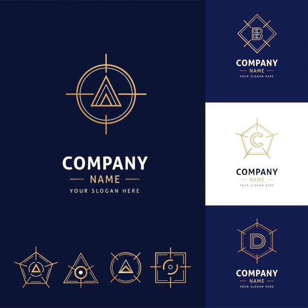 Collection of elegant geometrical architecture logos in gold color Premium Vector