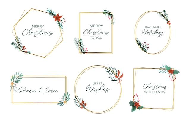 Collection of elegant golden christmas frames Free Vector