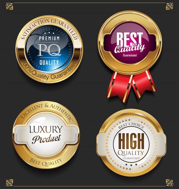 Collection of elegant golden premium quality labels Premium Vector