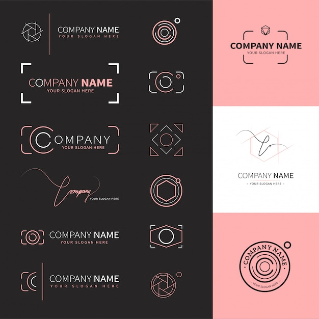 Collection of elegant and modern logos for photographers Premium Vector