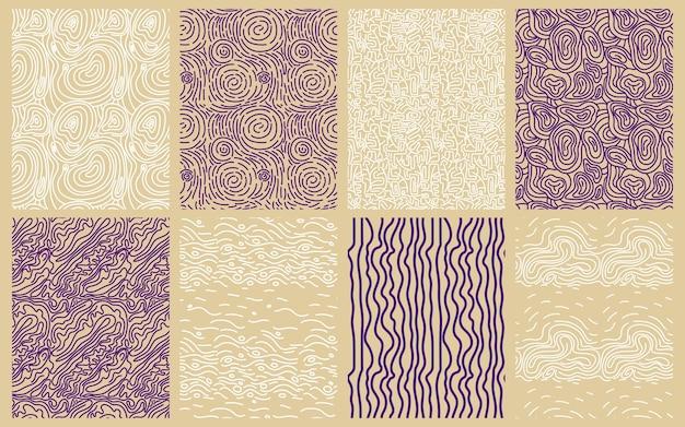 Collection of elegant round lines patterns Premium Vector