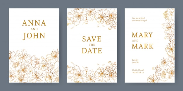 Collection of elegant templates for flyer, save the date card or wedding invitation with beautiful japanese sakura flowers hand drawn with yellow lines on white background. illustration. Premium Vector