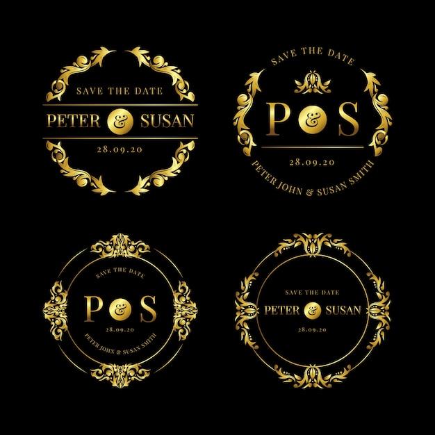 Collection of elegant wedding logos Free Vector
