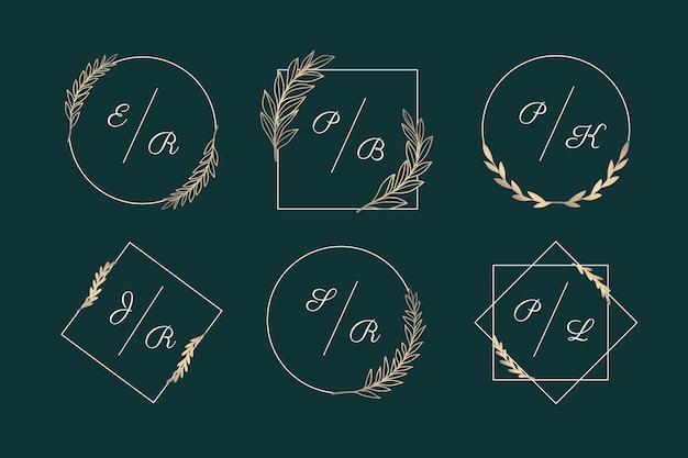 Collection of elegant wedding monograms Free Vector