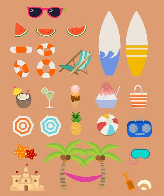 Collection of element for summer set pack. a group of summer set. Premium Vector