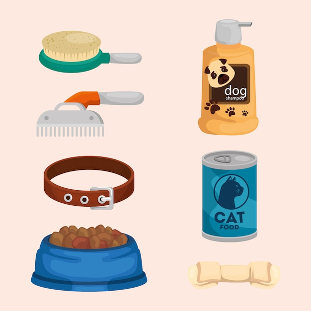 Collection of elements for care animals Premium Vector
