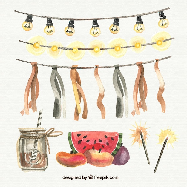 Collection of elements party and watercolor string lights Free Vector