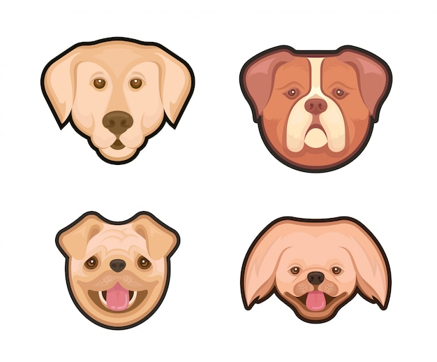Collection emblems of dogs Premium Vector