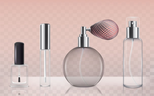Collection of empty glass cosmetic bottles in realistic style Free Vector
